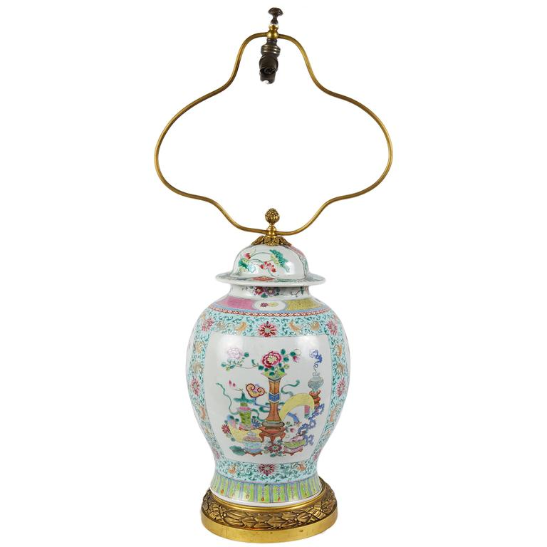 Chinese 19th Century Famille Rose lidded vase or lamp