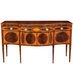 Satinwood & Mahogany Hepplewhite/Inlaid Serpentine Front Sideboard/Commode, NY