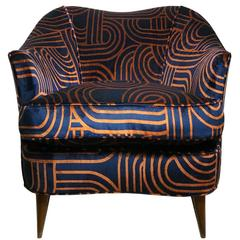 Vintage Gio Ponti Barrel Back Club Chair Navy and Copper Swirl Velvet Upholstery