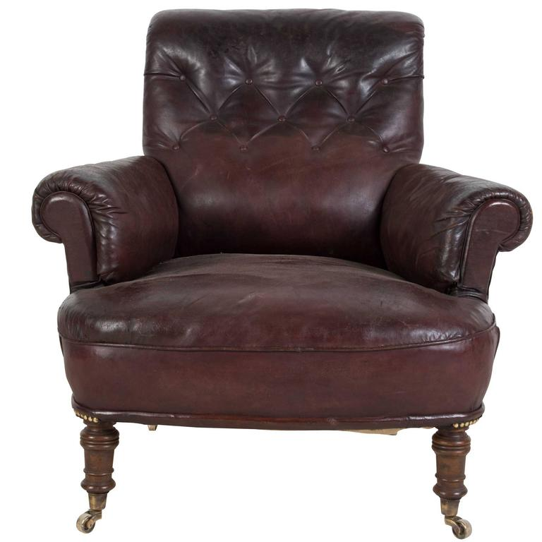 19th century english leather club chair for sale at 1stdibs
