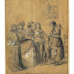 Almsgiving 'L'Aumône' 19th Century French School Black Pencil, Withe Gouache