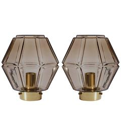 1970s Vintage Geometric Smoked Toned Glass Flush Mount Light Fixtures by Limburg