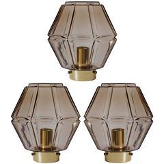 1970s Vintage Geometric Smoked Toned Glass Flush Mount Light Fixtures by Limburg