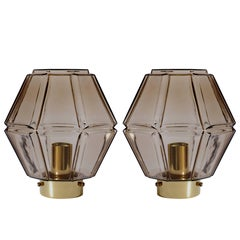 1970s Vintage Pair of Geometric Smoked Glass Flush Mount Lights by Limburg