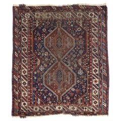 Distressed Antique Persian Shiraz Rug with Modern Tribal Style