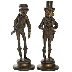 French Grotesque Figural Candlesticks