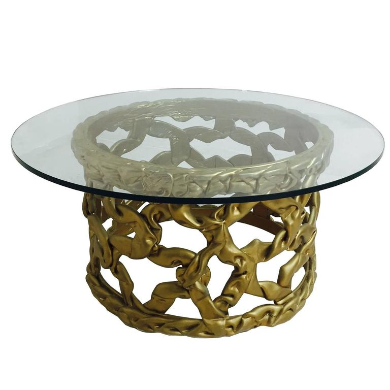 "Gold ""Ribbon"" Coffee Table by Tony Duquette For Sale"