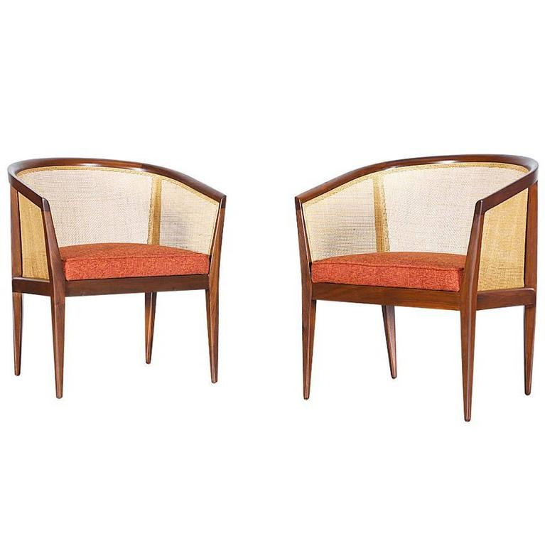 Kipp Stewart Caned Club Chairs For Directional At 1stdibs