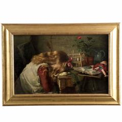 Harry Roseland Painting of Girl Mourning, circa 1886