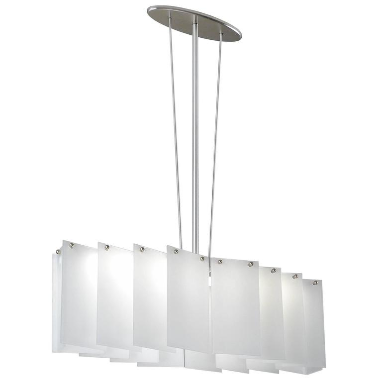 Art Deco Style Oval Shaped Chandelier with Overlapping White Glass Panels