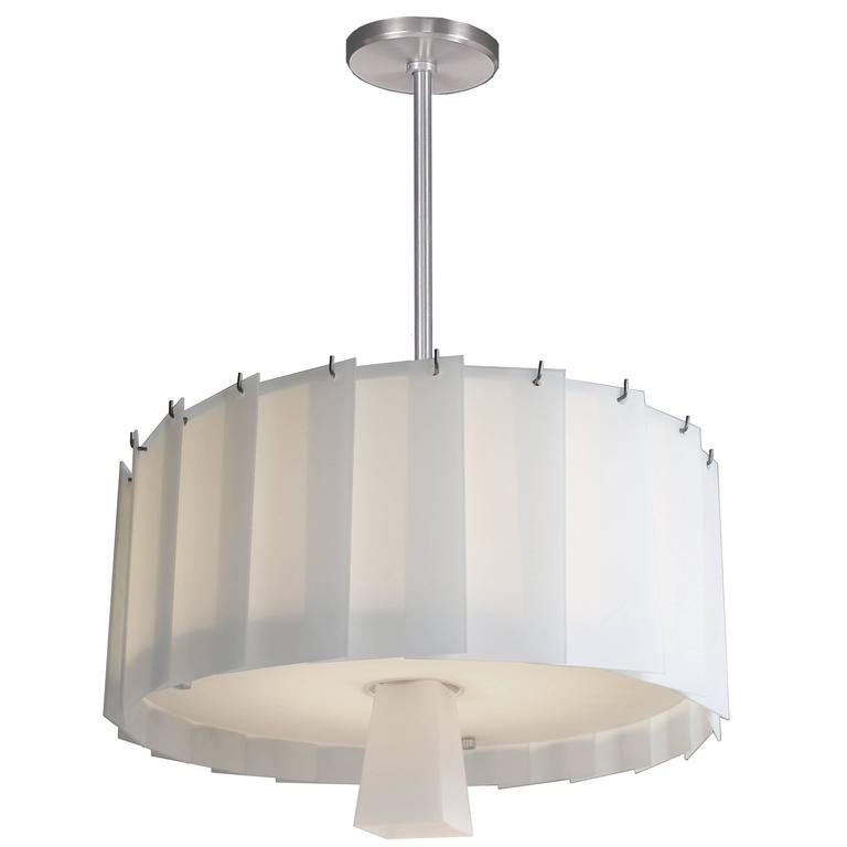 Art Deco Style Circular Chandelier with Overlapping White Glass Panels