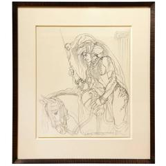 Antonio Lopez, a Pair of Framed Drawings from One Thousand and One Nights