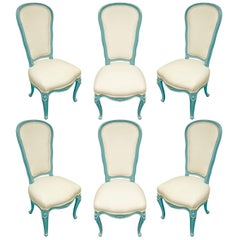 Set of Six Chic Louis XV Blue Lacquer Dining Chairs, 1970s