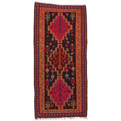 Vintage Persian Flatweave Kilim Runner with Tribal Style Boho Chic Gallery Rug