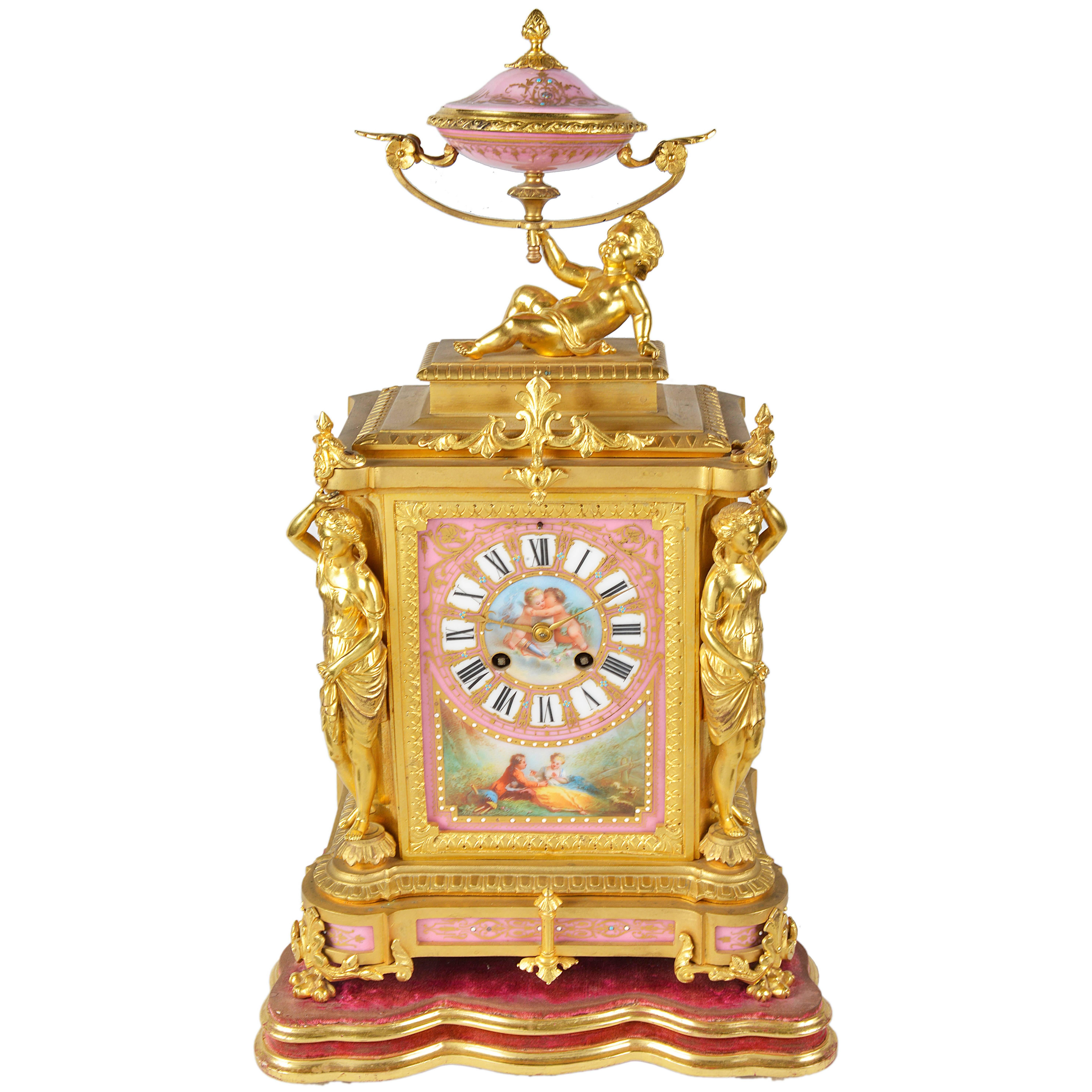 Antique French Sevres Mantel Clock