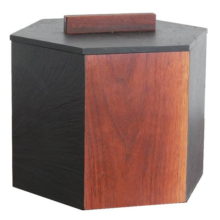 Slate and Teak Hexagonal Ice Bucket 1