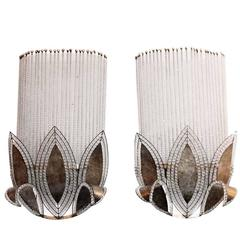 1990s Pair of Large Scale Crystal Beaded Art Deco Style Wall Sconces