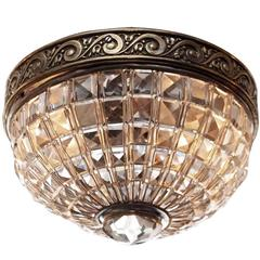 1930s Brass and Crystal Basket Flush Mount Light with Two Lights