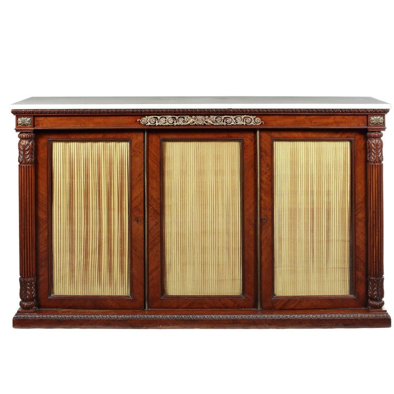 Large Regency Mahogany and Gilt Bronze Mounted Side Cabinet