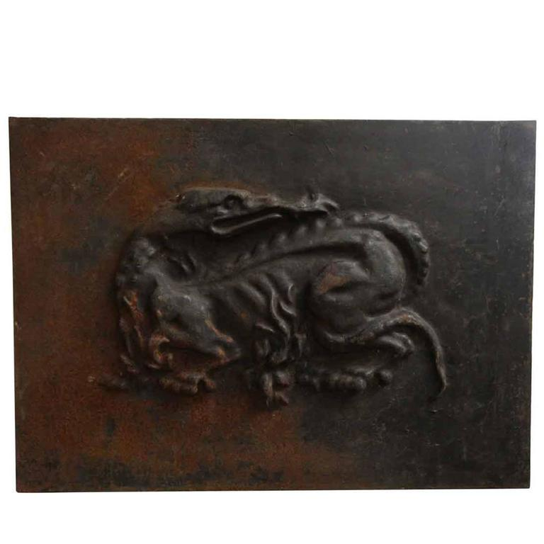 1880s French Cast Iron Dragon Fire Back Panel