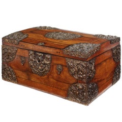 Late 17th Century Olive Oyster Veneered and Repoussé Domed Coffer