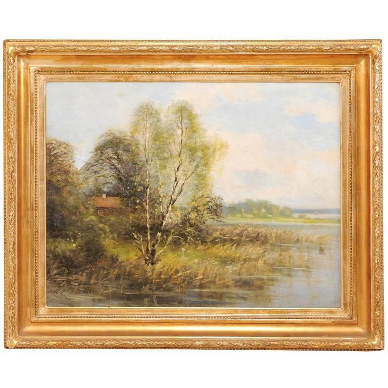 Original Landscape Oil Painting Depicting a Peaceful House Scene on the Water For Sale
