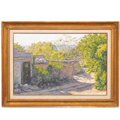 Home and Landscape Framed Oil Painting of Santa Fe, New Mexico of Medium Size