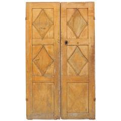 Pair of 19th Century Swedish Wood Doors with Diamond Motif Panels