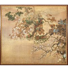 Japanese Screen, Floral Landscape with Gold Dust