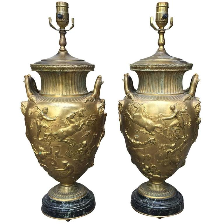 Exquisite Pair of 19th Century F. Barbedienne Bronze Lamps, Marble Bases