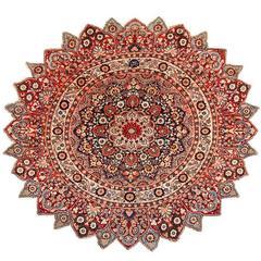 Round Antique Khorassan Persian Rug