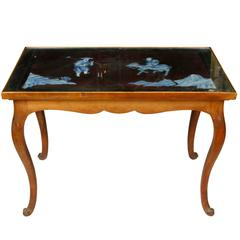 Pair of French Fruitwood Tables with Porcelain Tops