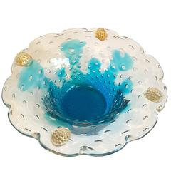 Seguso Vetri d'Arte Murano Pulegoso Italian Art Glass Bowl