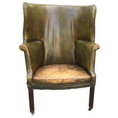 19th Century George III Period Library Chair, Barrel Form