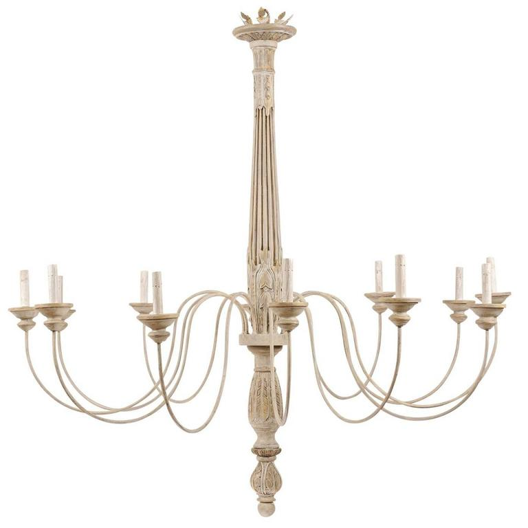 Large Twelve-Light Italian Fragment Chandelier of Neutral Painted Wood and Metal