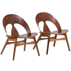Pair of Early Børge Mogensen Plywood Lounge Chairs for Erhard Rasmussen