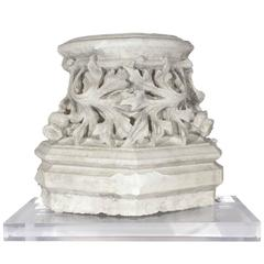 """19th Century Belgian Plaster """"Master"""" Church Architectural Fragment on Acrylic"""