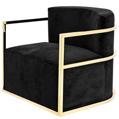 Arcan Armchair with Black Velvet and Gold Finish