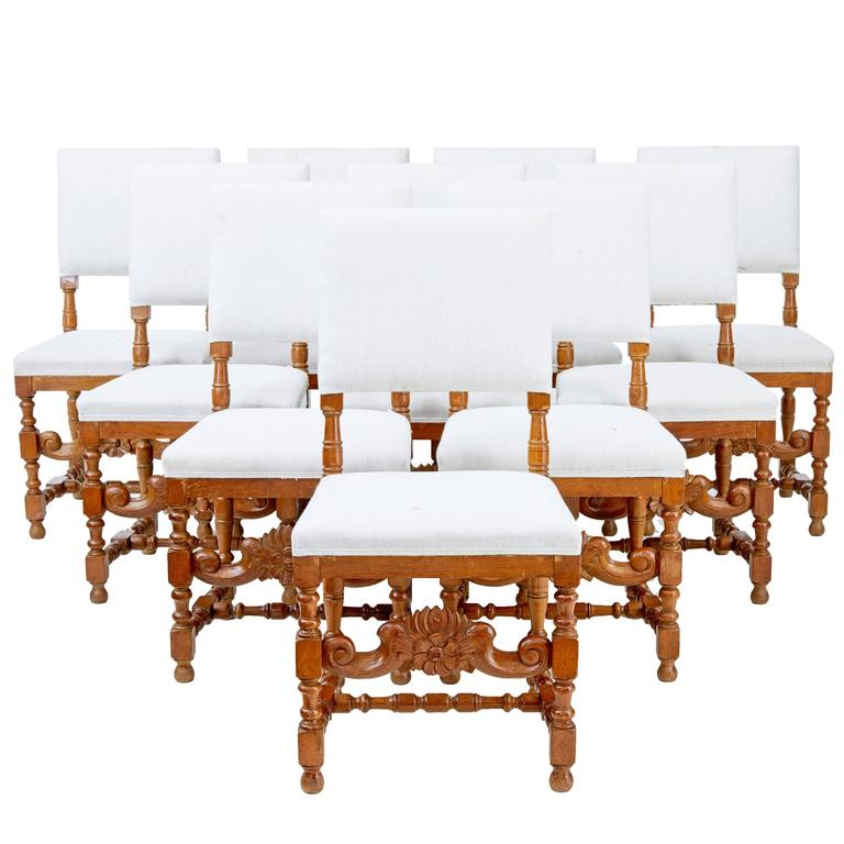 Set of Ten Early 20th Century Carved Oak Dining Chairs For Sale