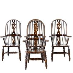 Set of Four Oak and Elm Windsor Armchairs