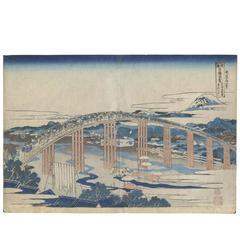 Hokusai Katsushika 19th Century Ukiyo-E Japanese Woodblock Print Bridge Tokaido