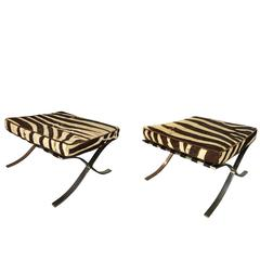 Pair of Barcelona Stools with Zebra Hide Cushions