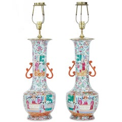 Pair of Early 20th Large Chinese Cantonese Vase Lights