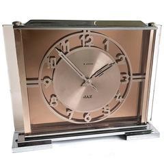 Art Deco Glass and Chrome 8 Day Clock by JAZ