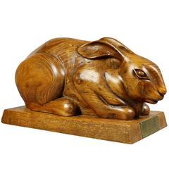 Scottish Carved Presentation Yewwood Figure of a Rabbit
