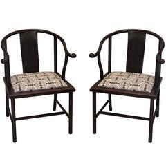 Pair of 20th Century Smith & Watson Horseshoe Style Asian Chairs
