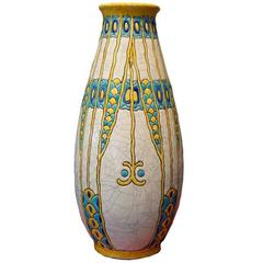 Charles Catteau Three Color Patterned Vase