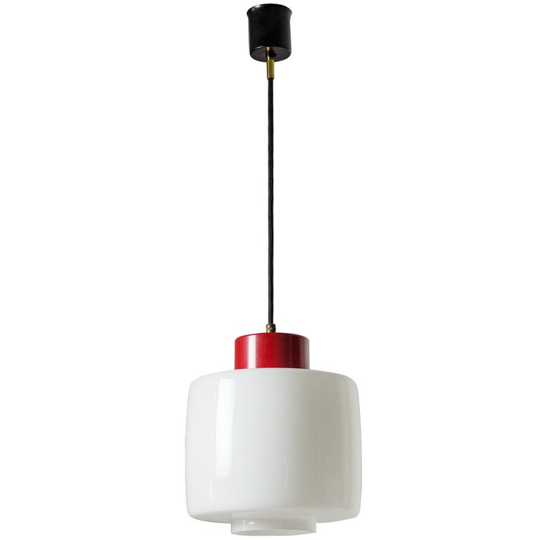 Stilnovo Glass and Lacquered Aluminum Pendant, 1950s