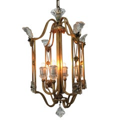 Italian Crystal and Gilded Iron Cage Four-Light Lantern by Banci Firenze 1980s