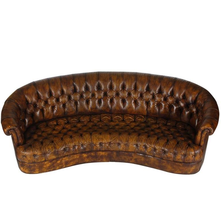 vintage chesterfield sofa with original brown leather for sale at 1stdibs. Black Bedroom Furniture Sets. Home Design Ideas